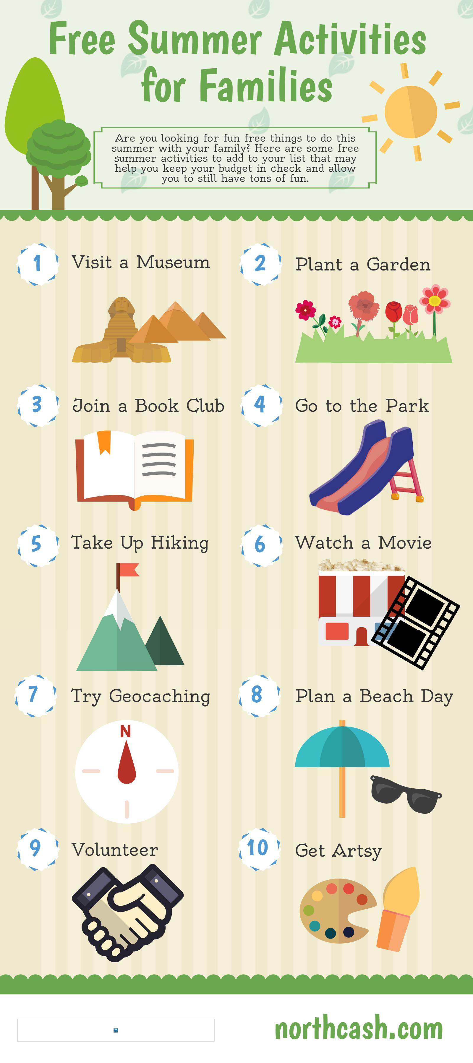 Free Summer Activities INFOGRAPHIC by  Northcash.com